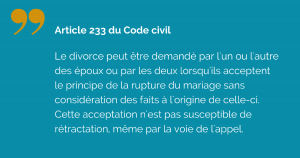 Acceptation du principe du divorce