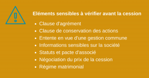 Points sensibles cession d'actions