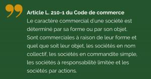Article 210-1 Code de commerce sociétés commerciales